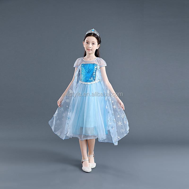 2019 エルザ冷凍ドレスガールドレスアップエルザプリンセスドレスとスノーフレーク冷凍ムービーコスプレ衣装 SU069