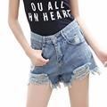 Summer Fashion Holes Fringed Women High Waist Denim Shorts Casual Shorts Female