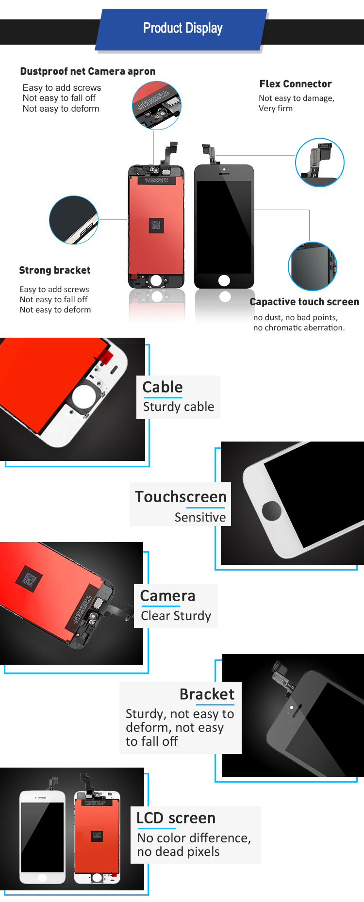 Foxconn screen for iphone 5 lcd srewd river, for iphone screen 5 full assembly, mobile lcd for iphone 5 se screen
