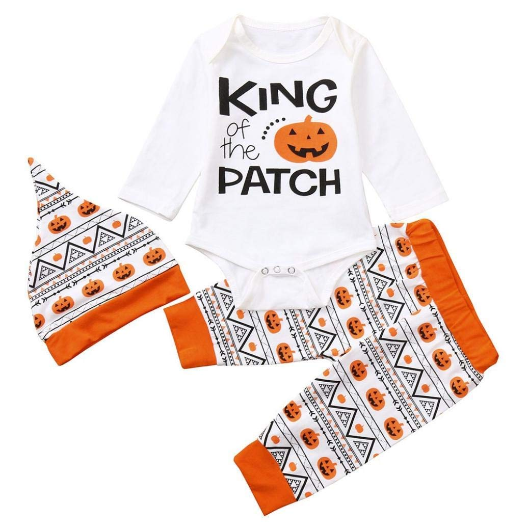3PC Cute Infant Baby Girl Boy Halloween Clothes Long Sleeve Pumpkin Romper Hat Pants Outfits Set