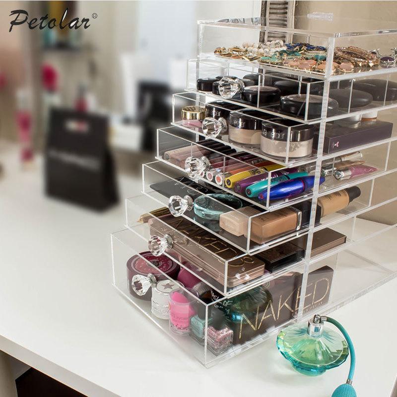 5 tiroir de rangement cosm tiques box bo te bijoux de brosse titulaire acrylique maquillage. Black Bedroom Furniture Sets. Home Design Ideas