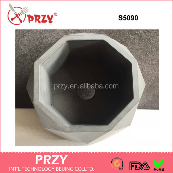 przy 2018 new concrete planter silicone mold 3d geometric cement flower pots Decorations mould wholesale