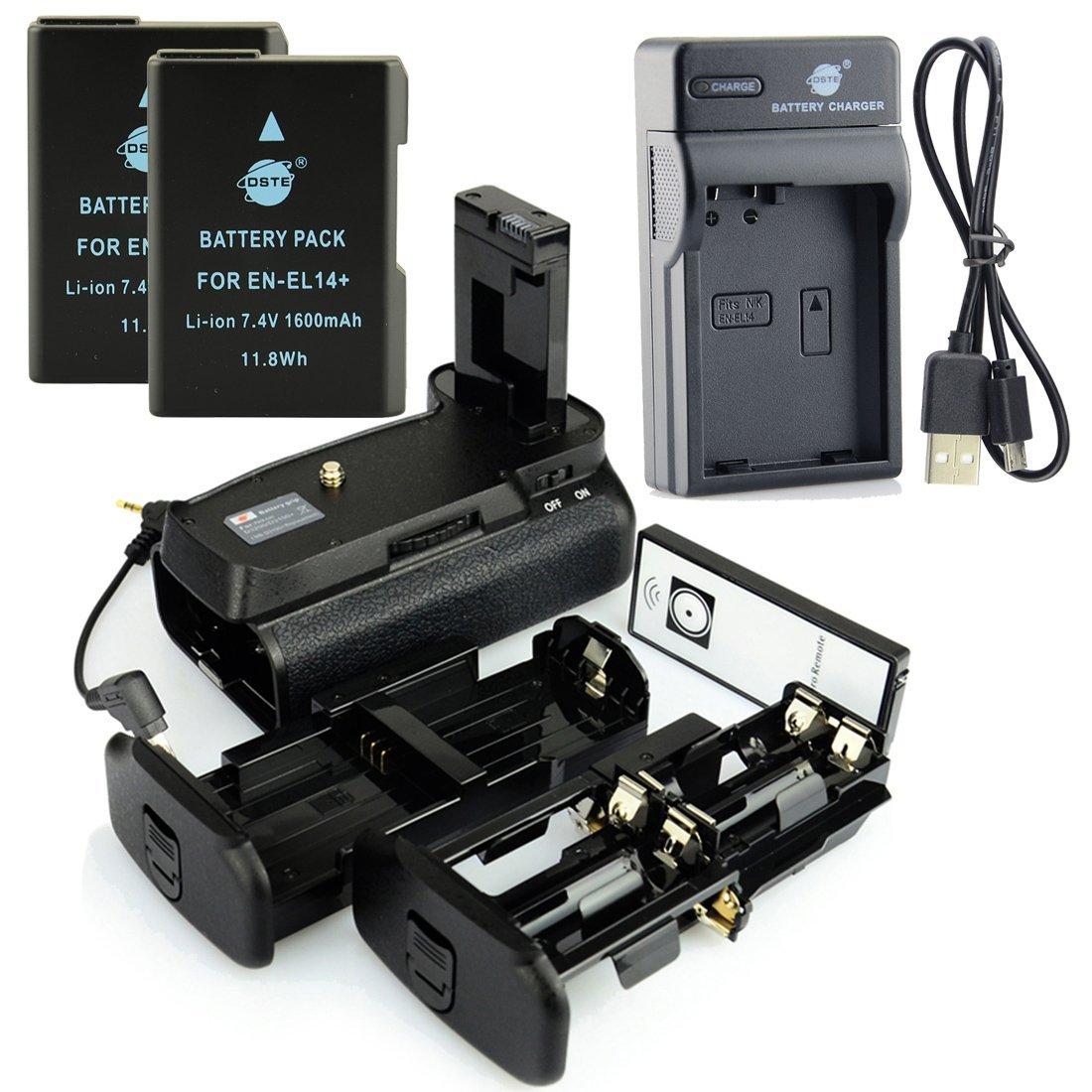 DSTE IR Remote MB-D31 Battery Grip + 2x EN-EL14 Battery + USB Charger for Nikon D3100 D3200 D3300 D5300