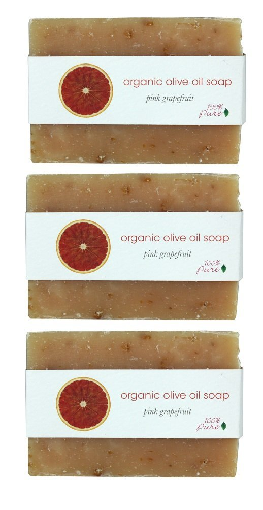 100% Pure: Pink Grapefruit Organic Olive Oil Soap, 3.5 oz Certified Organic Cold Pressed, Handcrafted From the Highest Quality Botanical Ingredients and Scented with Essential Oils Lathering (3 Pack)