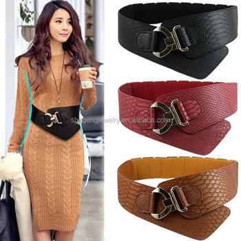 a5b5971882a Fashion Punk Hip Hop Women Leather Waist Belt Narrow Waistband Alloy Rhombic