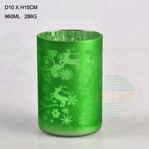 Christmas candle holder frosted candle jars with metal lids