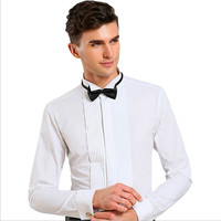 Men's French Cuff Tuxedo Shirt Solid Color Wing Tip Collar Shirt Men Long Sleeve Dress Shirts