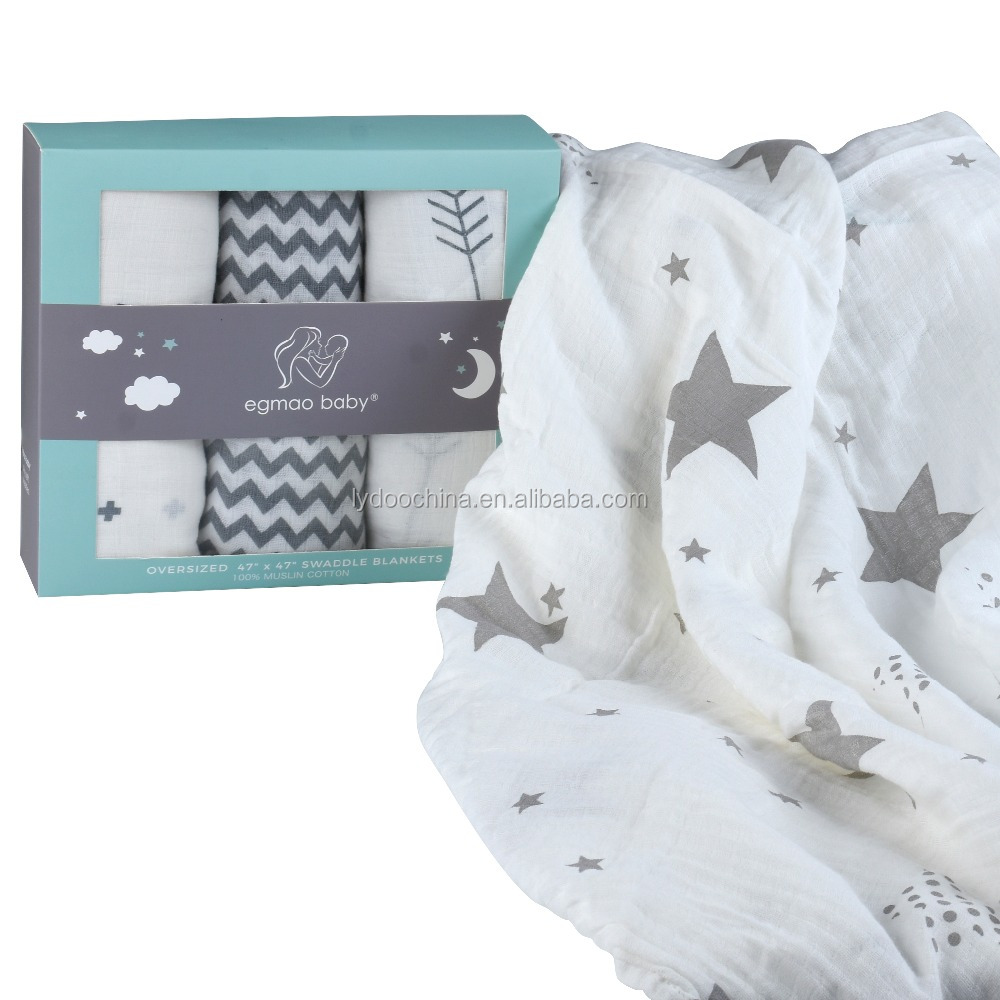 138e4f9f7e305 100% organic cotton baby swaddle blanket 47  47inches muslin swaddle  blankets