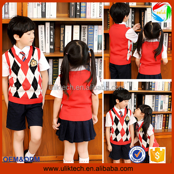 2016 Factory custom kids school uniform design for sweater school uniform cardigan wholesale (S011)