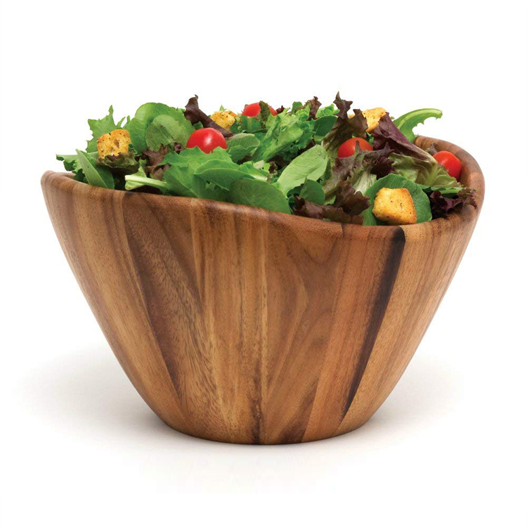 Factory Direct Sale High Quality Round Natural Health Bamboo Salad Bowl