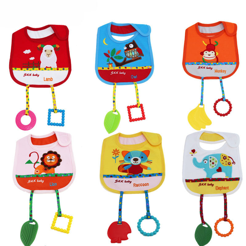 Multifunctional Baby Cotton Bibs with Two Baby Teethers Safe Silicone Food Grade Dental Care&Stain Resistant Infant Food Bibs