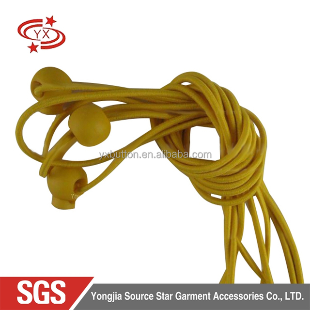 Garment accessories double holes plastic cord yellow elastic rope stopper