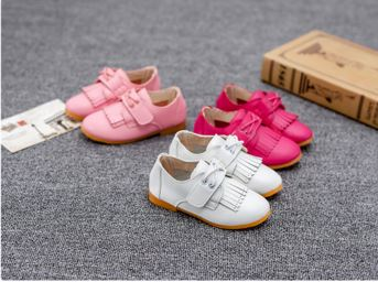 Cheap wholesale kids shoes children girl pu leather 3color flat casual shoes