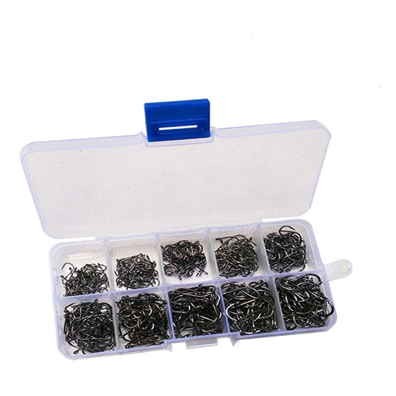500pcs/set mixed size 3~12 high carbon steel carp fishing hooks pack with hole with Retail Original box Jigging Bait, As picture show