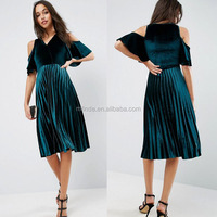 Casual Women Green Cold Shoulder Velvet Pleated Midi Dress Wholesale Custom Clothing Fashion Prom Dance Dresses Apparel Agent