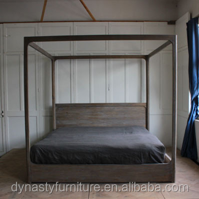 modern solid wood king size four postere canopy <strong>bed</strong> designs