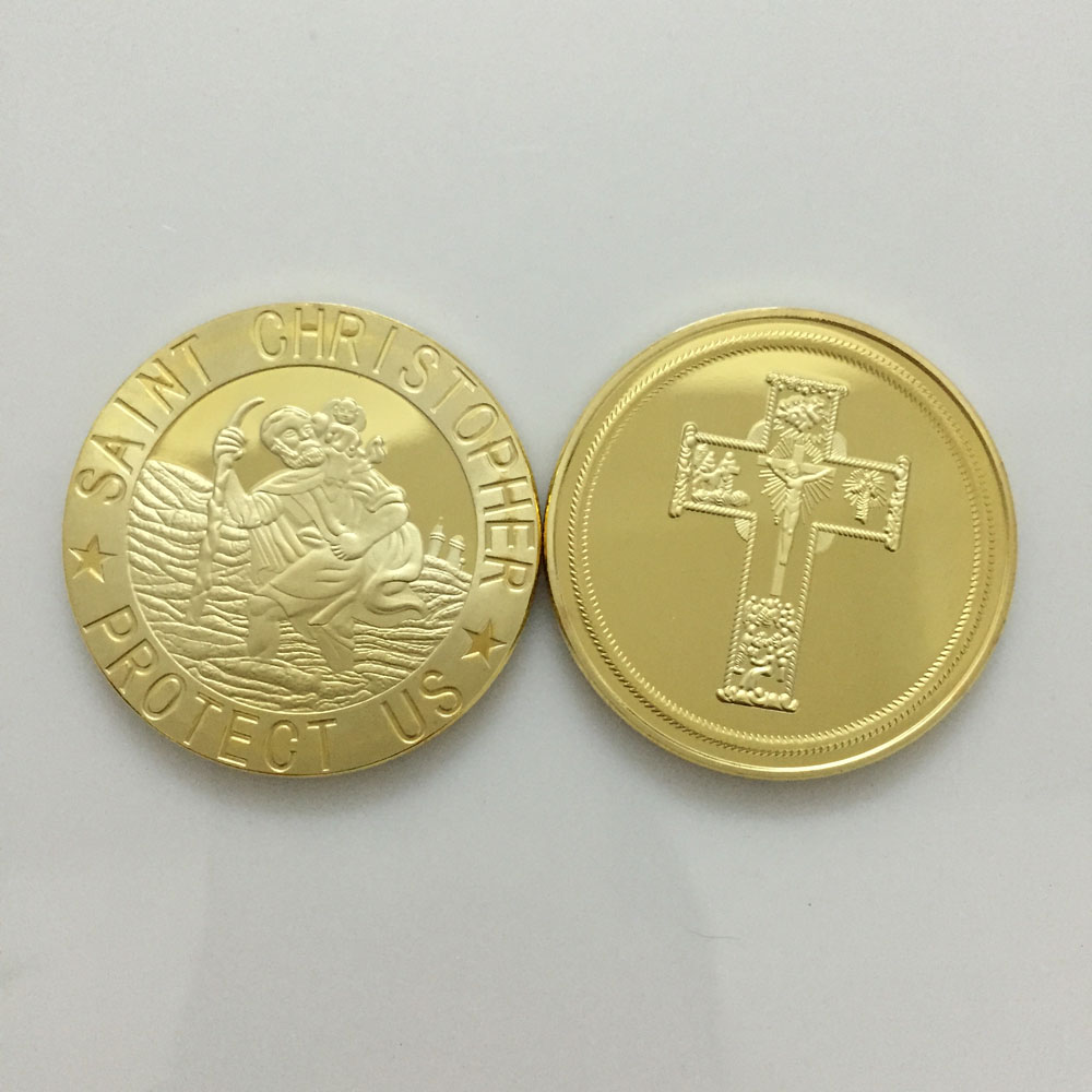 Jesus Cross 1 Oz Designer Saint Christopher protect us Easter Day gold plated coin medal