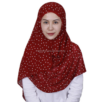 Fashion printed dot headband Girls muslim scarves bubble chiffon hijab shawl