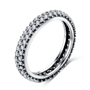 LZESHINE Free Sample Wedding Micro Zircon Men's And Girl Finger Silver Ring PSRI0053