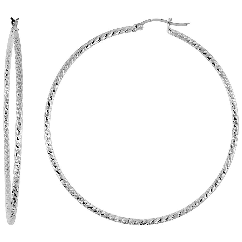 Get Quotations Sterling Silver Diamond Cut Hoop Earrings 2 1 Inch Wide