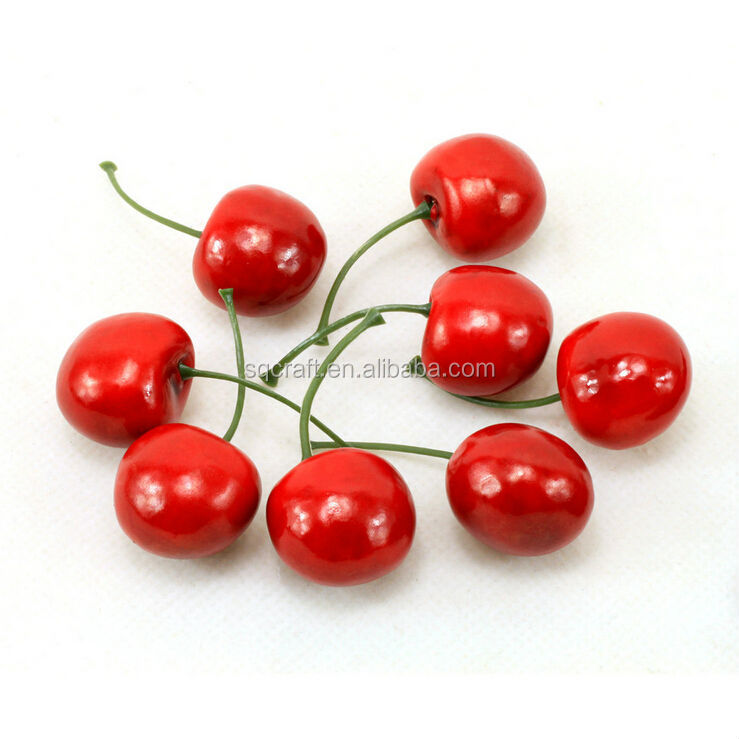 Standard Size Cherries Decorative Plastic Artificial Fake Fruit