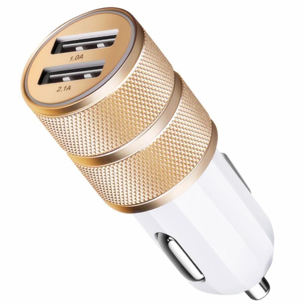Car Charger,2.1A/24W 2-Port Smart Dual USB Port LED Smart Light Car Charger (Golden)