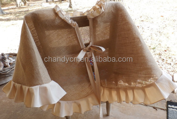 Frilly hessian Christmas tree skirt is made from burlap