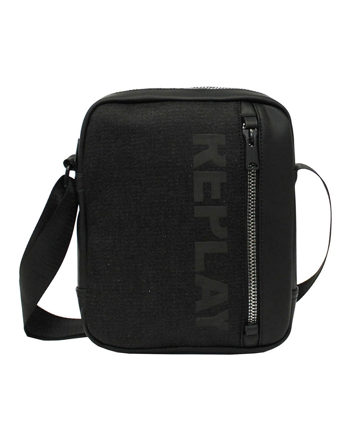 e40627a741ef Get Quotations · Replay Men s Men s Black Denim Shoulder Bag 100% Cotton