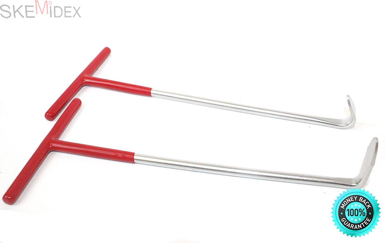 SKEMiDEX---2pc Exhaust Pipe Puller Tool Set T-Handle 90° & 120° Hooks for Exhaust Mount. Hooks Hooks for Exhaust Mount Exhaust Pipe Puller Tool Set