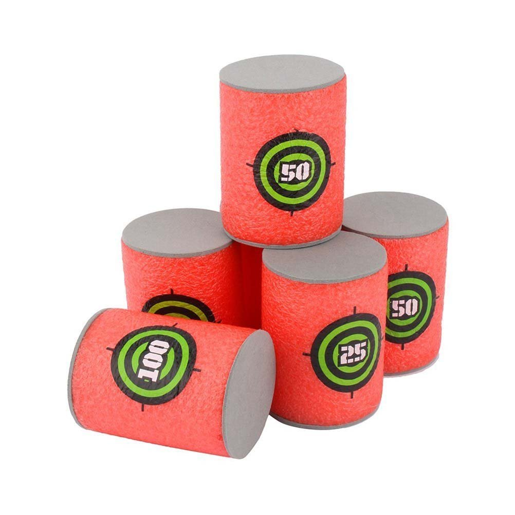 Pixnor 6pcs Soft Foam Target Cans for Nerf Guns Games