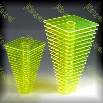 Yellow Perspex Acrylic Cube Vase