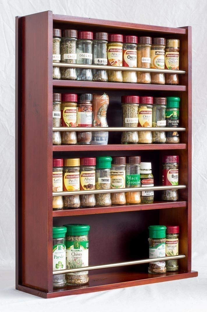 Spice Rack - Wooden - Closed Top - 4 Tiers - Stainless Steel Tube - 72 Spice Jars