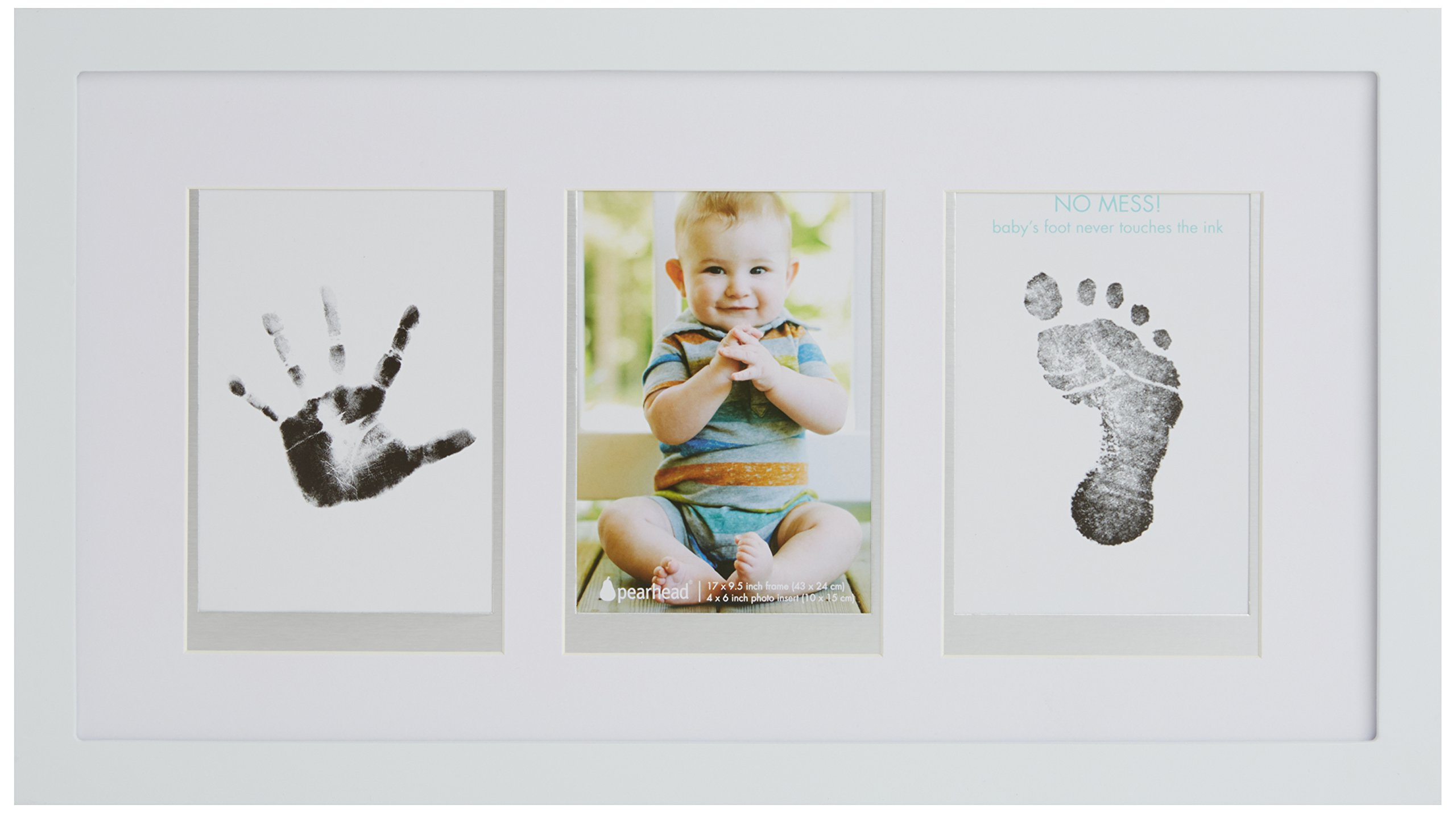 Pearhead Babyprints Newborn Baby Handprint and Footprint Desk Photo Frame & Impression Kit, White