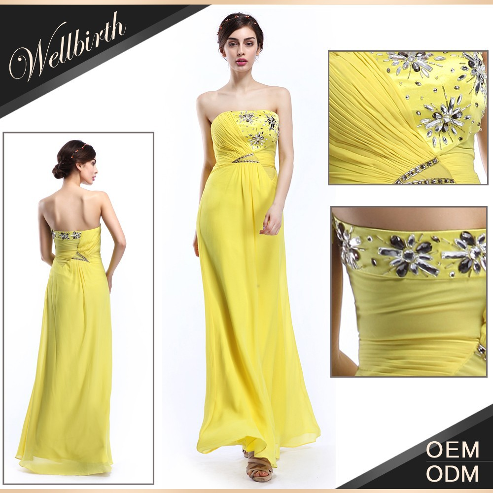 Direct factory high quality straight across chiffon yellow gold bridesmaid dresses