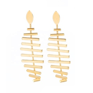 AIDAILA Latest Fashion Korean Party Fine Jewelry Earrings Gold Plated Brass Metal Unique Long Fishbone Party Earrings for Women