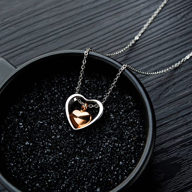China wholesale fashion women 316L stainless steel heart initial necklace jewelry