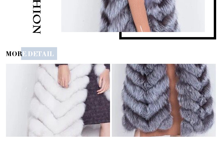 Fashionable long fur gilet silver fox fur vest for women