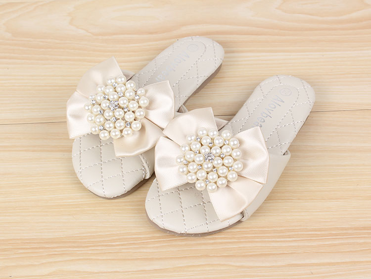 New Latest Girls Slippers Pearl Circle Bowknot Children Shoes Pink Beige Rose Kids Shoes For Summer