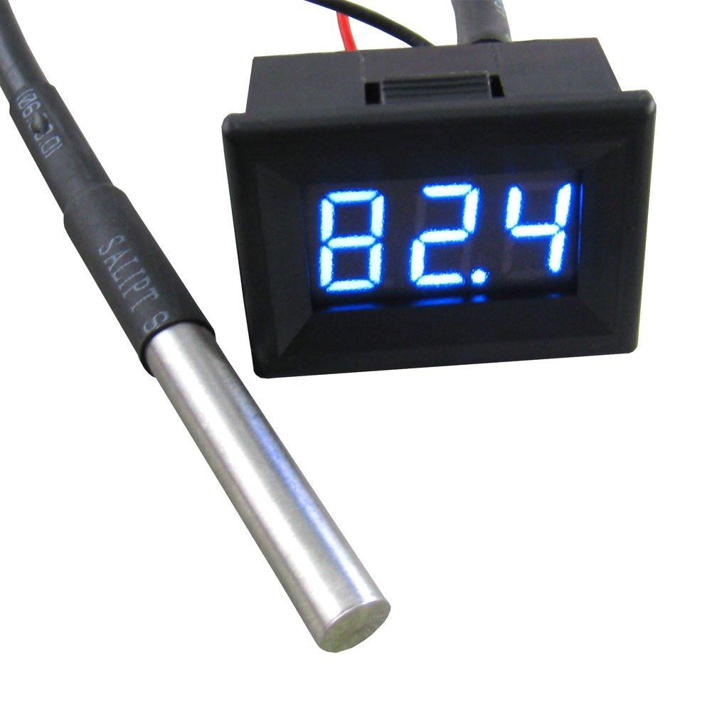 "Yeeco 0.36"" -55-125°C Blue LED Digital Thermometer Temperature Gauge Panel Black Shell Temp Measure with 18B20 Waterproof Temp Sensor for pond/car/Refrigerator/Aquarium"