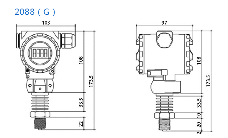 2088 absolute intelligent Hart 4-20ma air pressure sensor transmitter