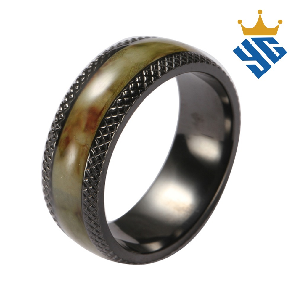 Hotselling Wholesale Metal Jewely Men's Ring Band Black Zirconium Ring For Men