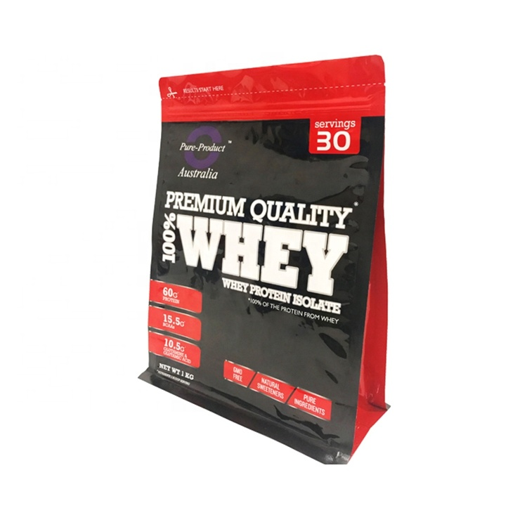 Flat Bottom Whey Protein Powder Pouch Customized Zip Bags For Packaging Products Bag