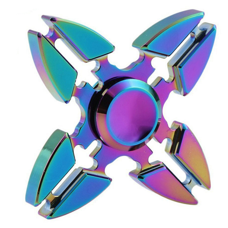Fidget Spinner Toy, Quad Crabs Hand Spinner Rainbow Color Relieve Anxiety Stress Helps Focus