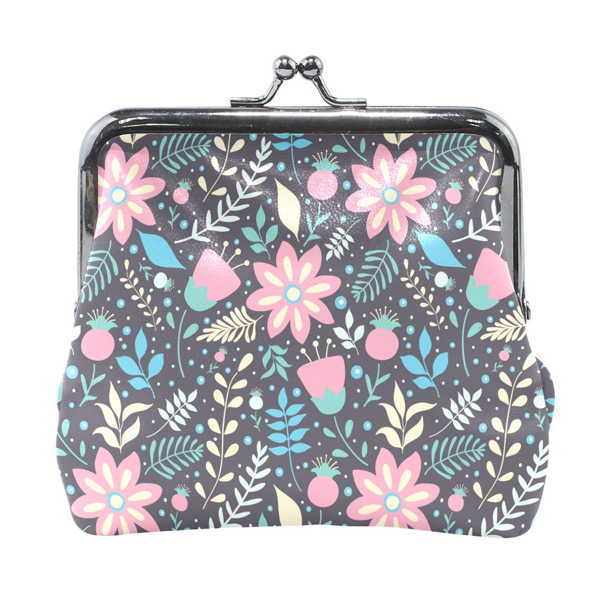 Flower Pattern High Grade Leather Coin Purse Snap Closure Clutch Coin Wallet