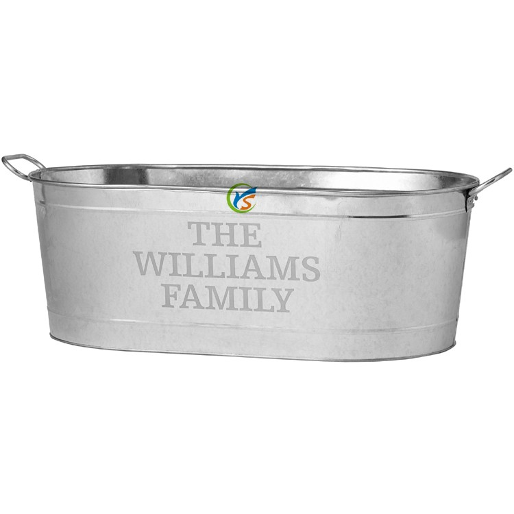 Large Metal Personalized Beverage Galvanized Tub