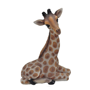 Exotic Hand Painted Cast Polyresin Sitting Giraffe 10""