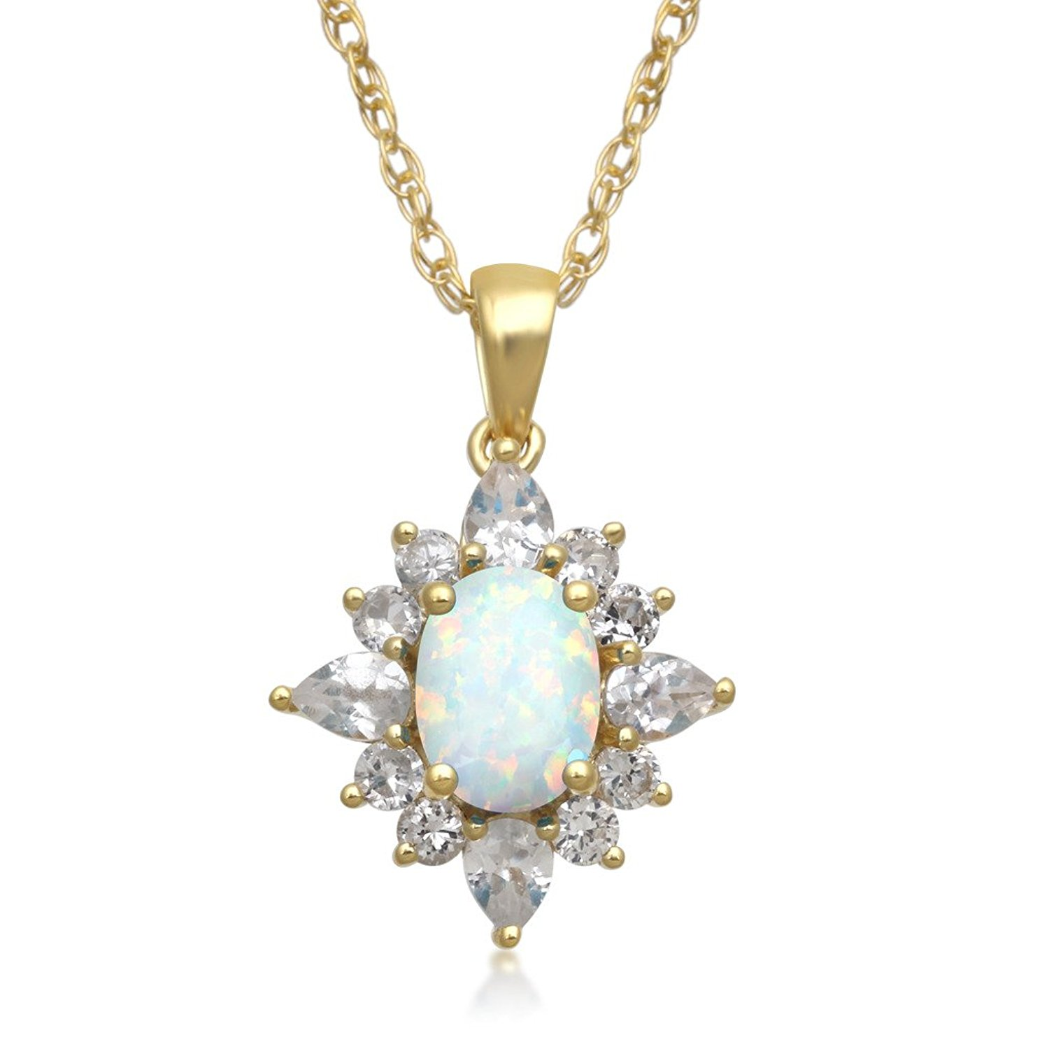 """Jewelili 18K Yellow Gold Plated Sterling Silver Oval Created Opal with Created White Sapphire Blooming Pendant Necklace, 18"""""""