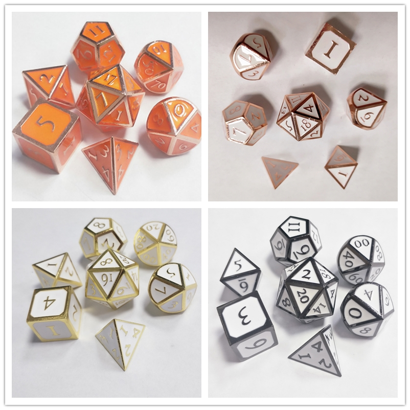 2019 Hot sale Enamel Polyhedral Dungeons and Dragons DND In Stock RPG Board Playing Game Accessories Metal Dice