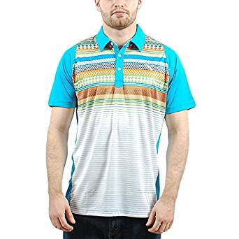 78b38784 PUMA MENS DUO-SWING FAIR ISLE STRIPE GOLF POLO VIVID BLUE 560928 02 SIZE  MEDIUM