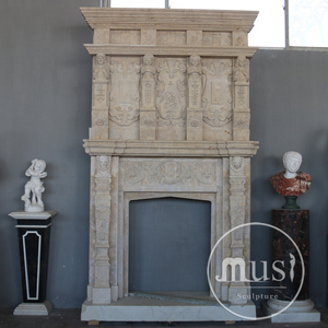 Hand Carving Natural Stone Electric Fireplace No Heat